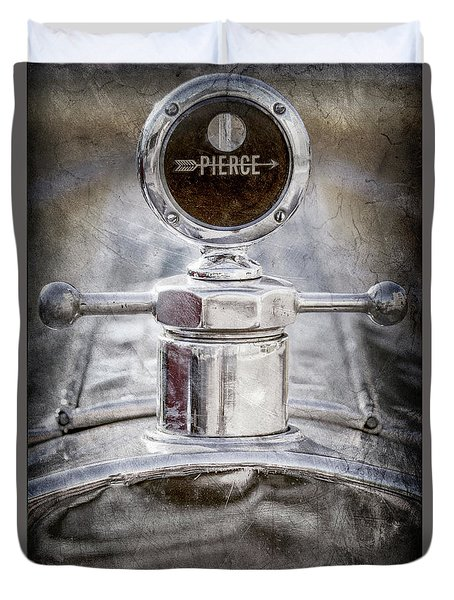 Duvet Cover featuring the photograph 1920 Pierce-arrow Model 48 Coupe Hood Ornament -2829ac by Jill Reger