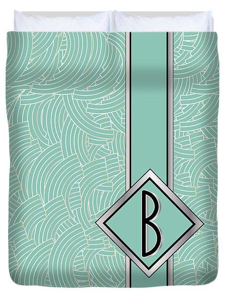 1920s Blue Deco Jazz Swing Monogram ...letter B Duvet Cover