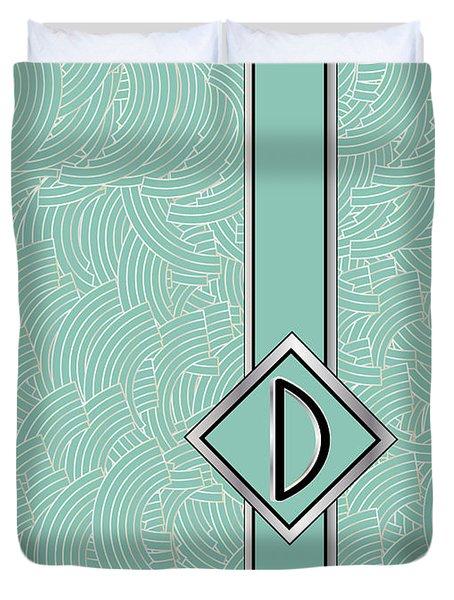 1920s Blue Deco Jazz Swing Monogram ...letter D Duvet Cover