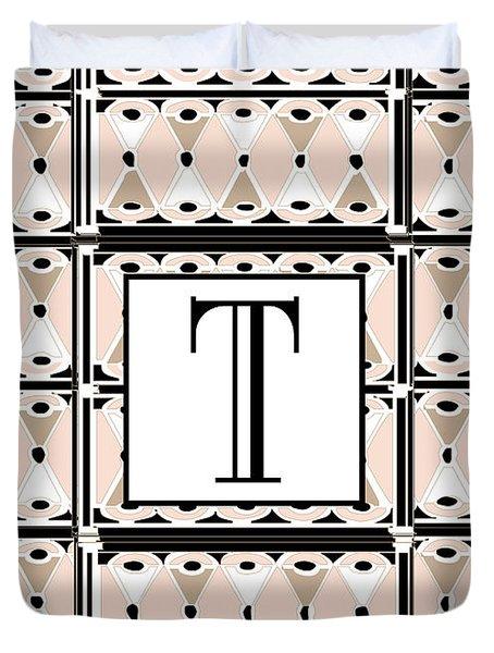 1920s Pink Champagne Deco Monogram  T Duvet Cover