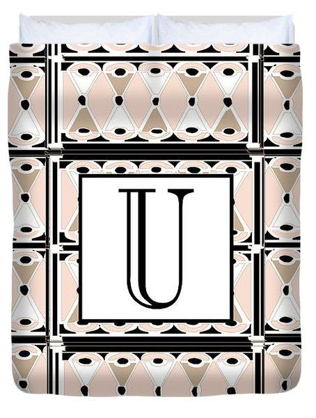 1920s Pink Champagne Deco Monogram  U Duvet Cover