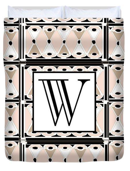 1920s Pink Champagne Deco Monogram  W Duvet Cover