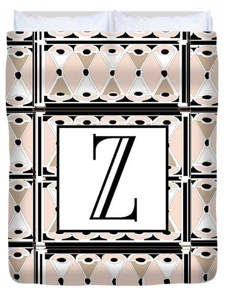 1920s Pink Champagne Deco Monogram  Z Duvet Cover