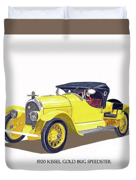 Duvet Cover featuring the painting 1923 Kissel Kar  Gold Bug Speedster by Jack Pumphrey