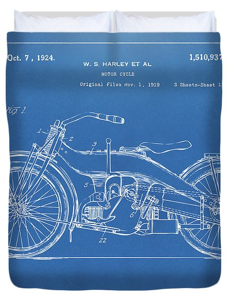Duvet Cover featuring the digital art 1924 Harley Motorcycle Patent Artwork Blueprint by Nikki Marie Smith