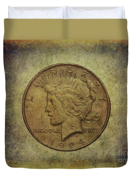 Duvet Cover featuring the digital art 1924 Peace Silver Dollar by Randy Steele