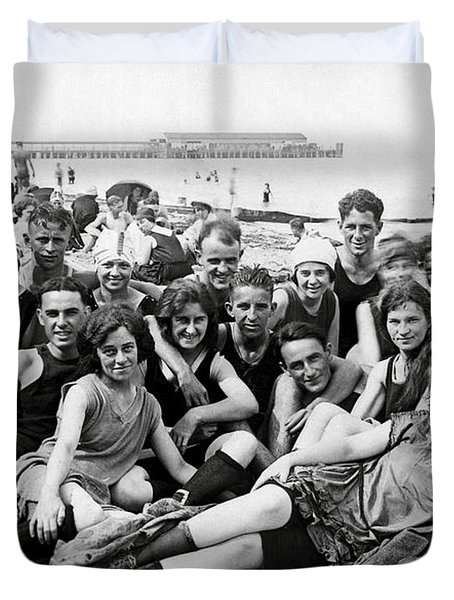 1925 Beach Party Duvet Cover by Historic Image
