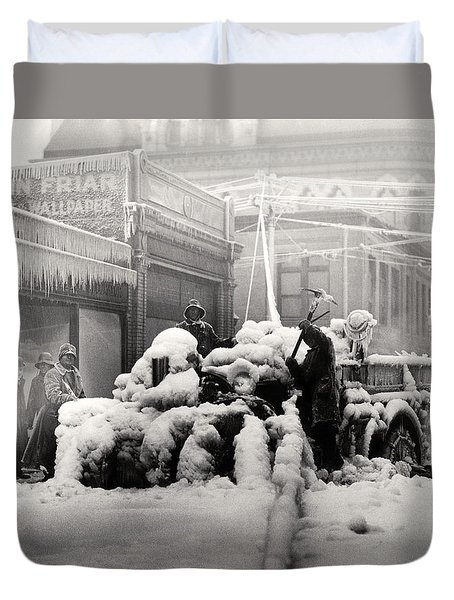 1925 Boston Fire Engine Encased In Ice Duvet Cover by Historic Image