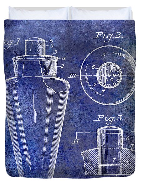 1925 Cocktail Shaker Patent Blue Duvet Cover