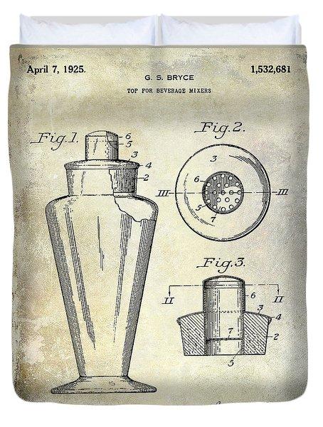 1925 Cocktail Shaker Patent  Duvet Cover