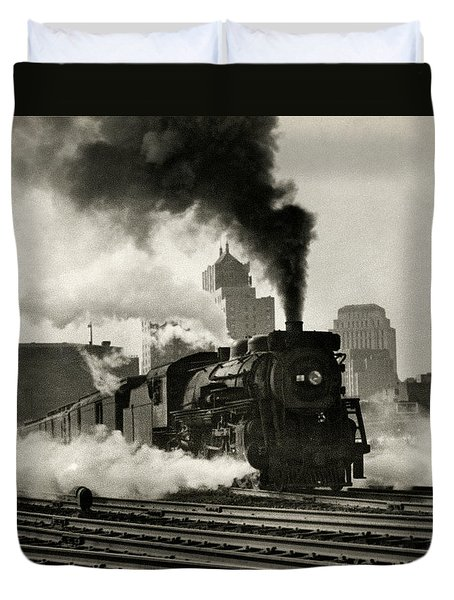 1925 Train Leaving Boston  Duvet Cover by Historic Image