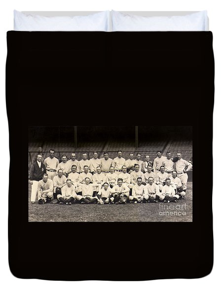 1926 Yankees Team Photo Duvet Cover by Jon Neidert