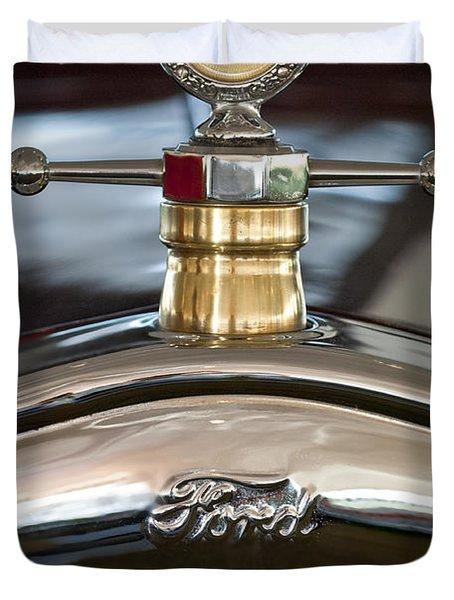 1927 Ford T Roadster Hood Ornament Duvet Cover by Jill Reger