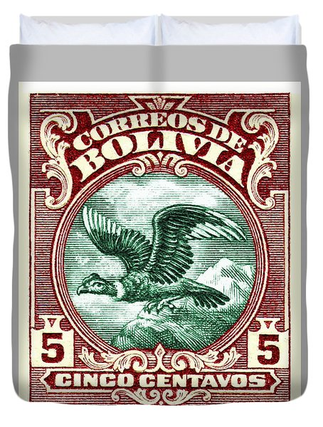 1928 Bolivia Andean Condor Postage Stamp Duvet Cover