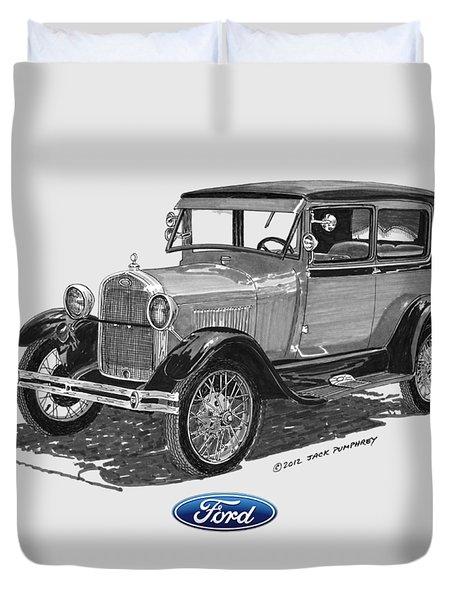 Model A Ford 2 Door Sedan Duvet Cover by Jack Pumphrey