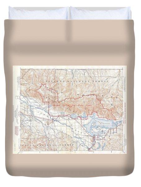 1929 Usgs Map Of Grand Teton National Park Wyoming  Duvet Cover