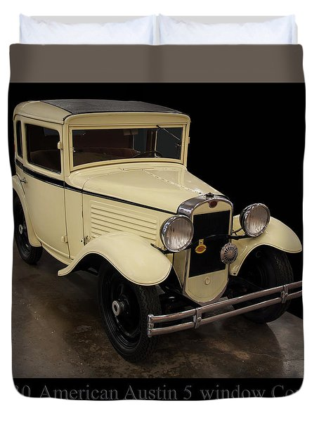 Duvet Cover featuring the digital art 1930 American Austin 5 Window Coupe by Chris Flees