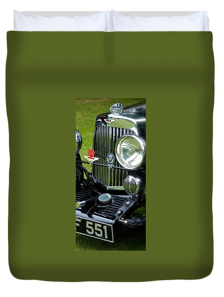 1930s Aston Martin Front Grille Detail Duvet Cover by John Colley