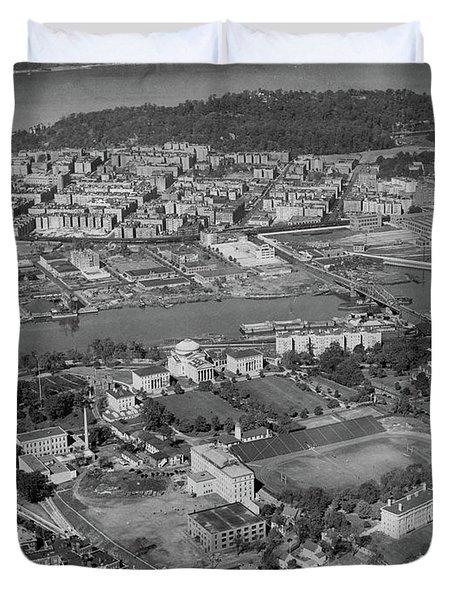 1930's Northern Manhattan Aerial  Duvet Cover