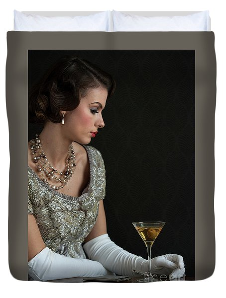 1930s Woman With A Cocktail Glass Duvet Cover