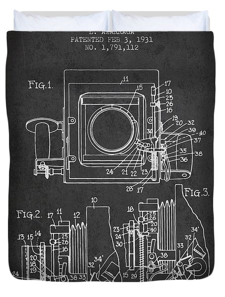 1931 Camera Patent - Charcoal Duvet Cover