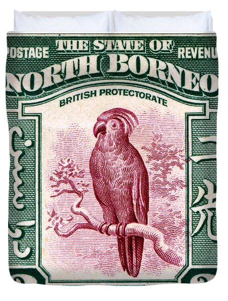 1931 North Borneo Palm Cockatoo Stamp Duvet Cover