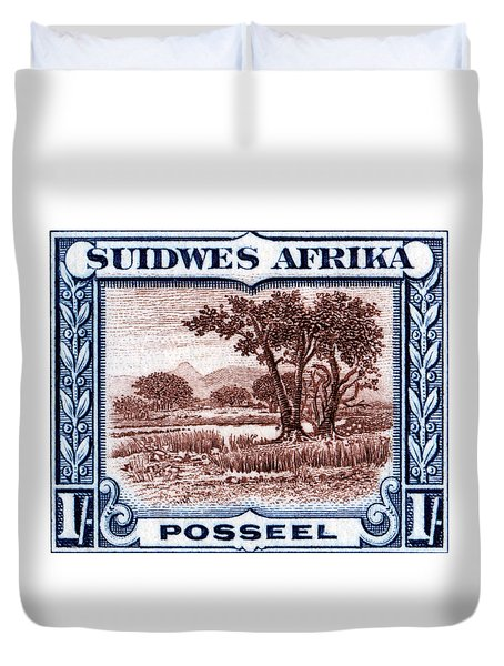 Duvet Cover featuring the painting 1931 South West African Landscape Stamp by Historic Image