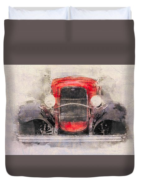 1932 Ford Roadster Red And Black Duvet Cover