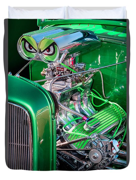 Duvet Cover featuring the photograph 1932 Green Ford Hot Rod Engine by Aloha Art