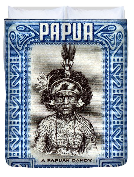 1932 Papuan Dandy Stamp Duvet Cover by Historic Image