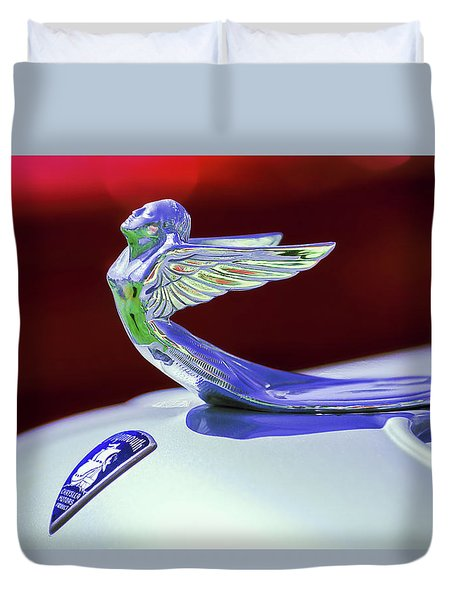 Duvet Cover featuring the photograph 1933 Plymouth Hood Ornament -0121rc by Jill Reger