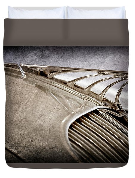 Duvet Cover featuring the photograph 1934 Desoto Airflow Coupe Hood Ornament -2404ac by Jill Reger