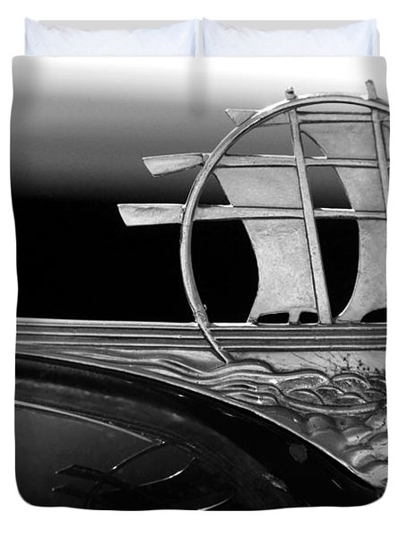 1934 Plymouth Hood Ornament Black And White Duvet Cover by Jill Reger