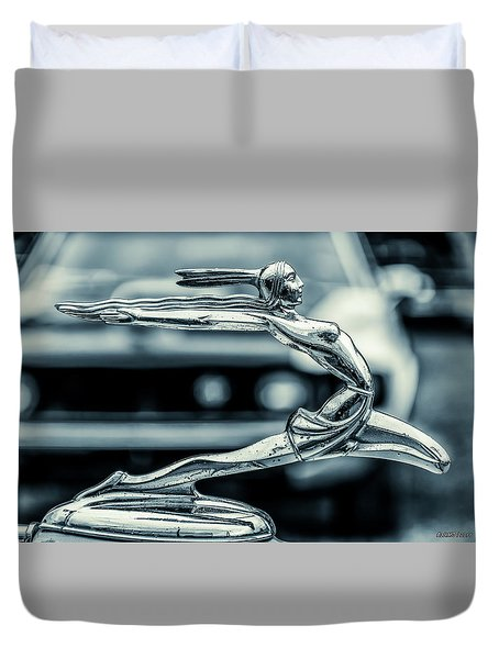1934 Pontiac Hood Ornament Duvet Cover