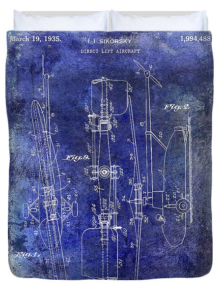 1935 Helicopter Patent Blue Duvet Cover