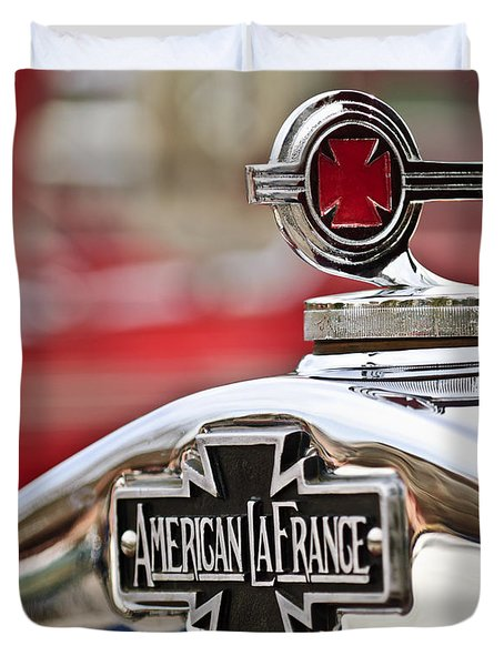 1936 American Lafrance Fire Truck Hood Ornament Duvet Cover