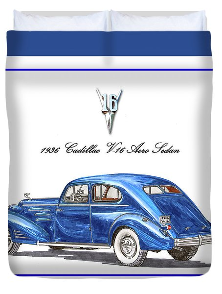 1936 Cadillac V-16 Aero Coupe Duvet Cover by Jack Pumphrey