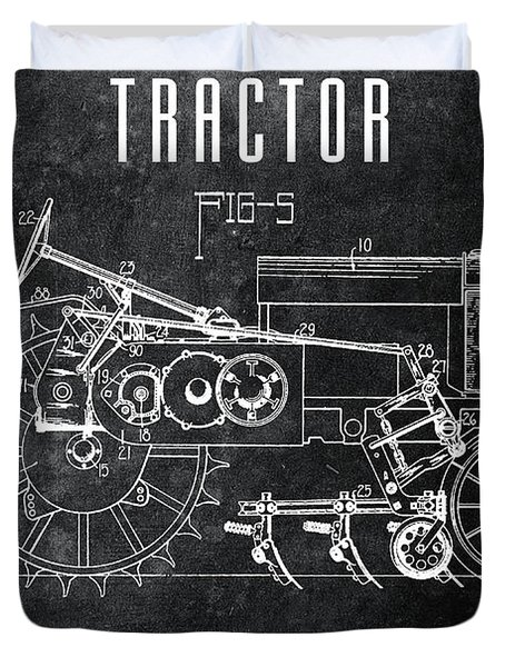 1936 Chalkboard Tractor Patent Duvet Cover