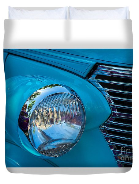 1936 Chevy Coupe Headlight And Grill Duvet Cover