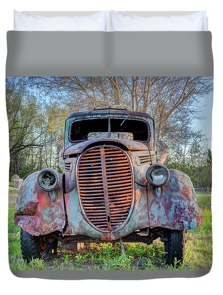 Duvet Cover featuring the photograph 1936 Model 511 1/2 Ton Stakebed Farm Truck Near Charlevoix, Mic by Peter Ciro
