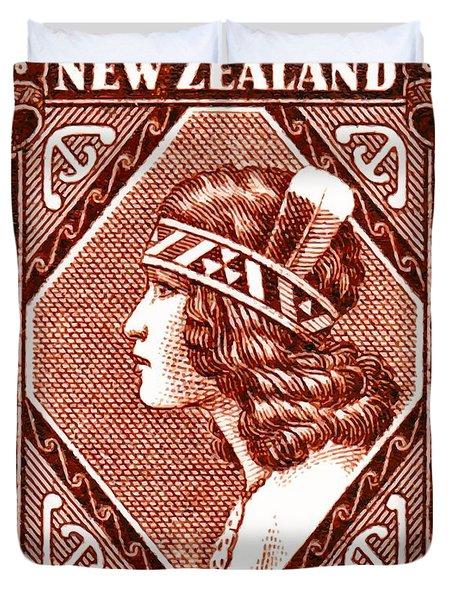 1936 New Zealand Maori Girl Postage Stamp Duvet Cover