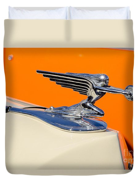 Duvet Cover featuring the photograph 1936 Packard Hood Ornament by Aloha Art