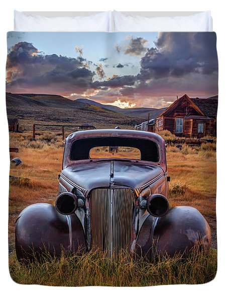 1937 Chevy At Sunset Duvet Cover