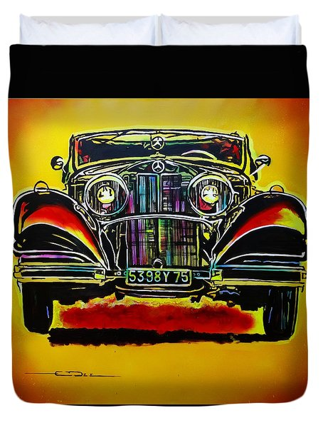 1937 Mercedes Benz First Wheel Down Duvet Cover by Eric Dee