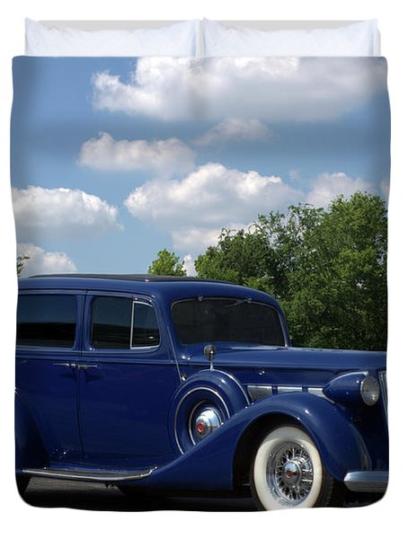 Duvet Cover featuring the photograph 1937 Packard 120 by Tim McCullough