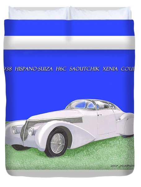1938 Hispano Suiza H6c Saoutchik Xenia Coupe Duvet Cover by Jack Pumphrey