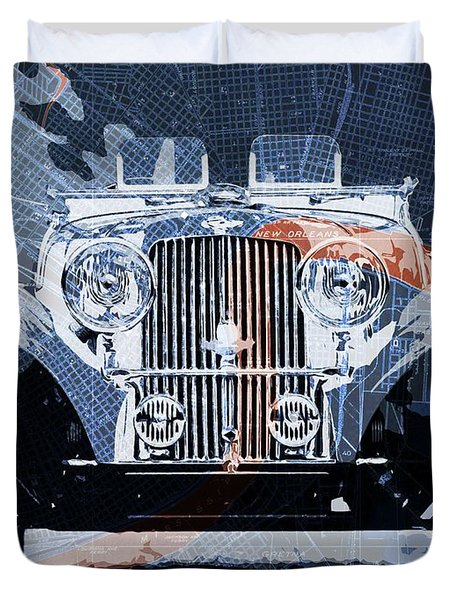 1939 Aston Martin 15-98 Over New Orleans Vintage Blue And Orange Map Duvet Cover