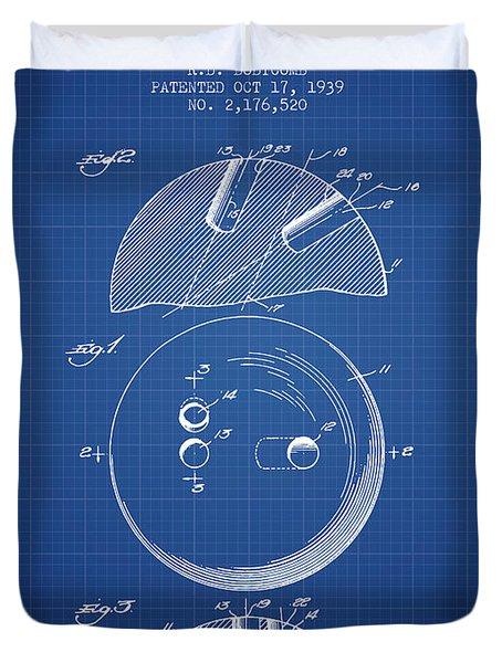 1939 Bowling Ball Patent - Blueprint Duvet Cover