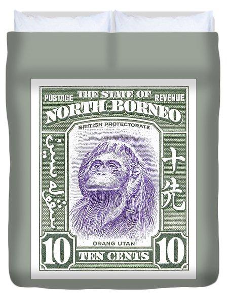 1939 North Borneo Orangutan Stamp Duvet Cover