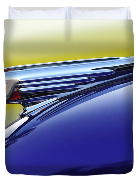 1939 Pontiac Coupe Hood Ornament Duvet Cover by Jill Reger